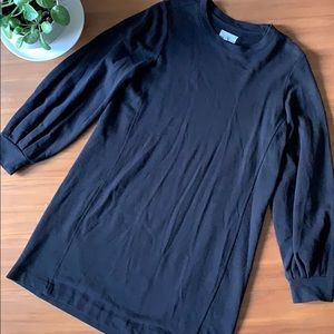 Lou & Grey Black Crew Neck Sweat Shirt Dress Med